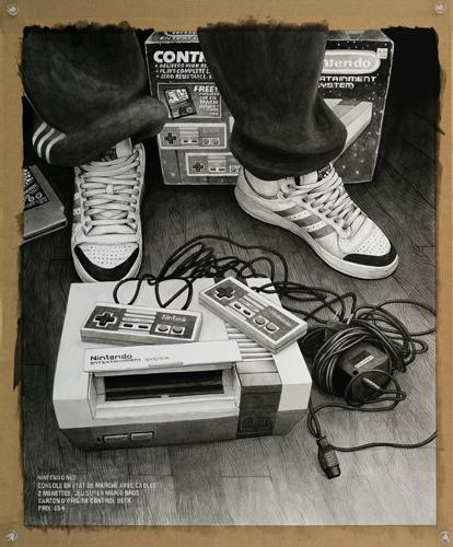 2013 - Wish List, Nintendo Nes - acrylique sur papier, 50,5 x 40,5 cm