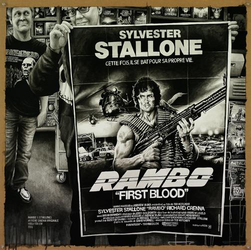 2013 - Wish List, Rambo poster - acrylique sur papier, 80 x 80,5 cm