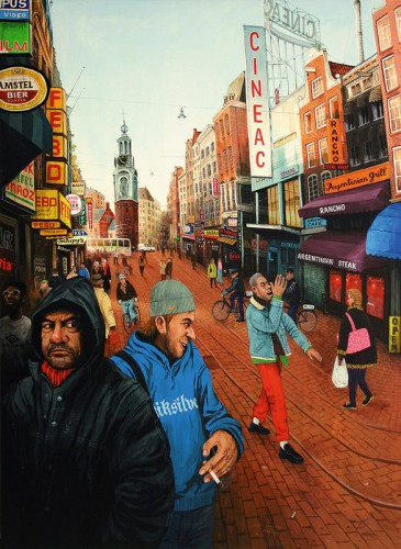Amsterdam,-Reguliersfreestraat---acrylic-on-wood---95-x-70-cm---2004