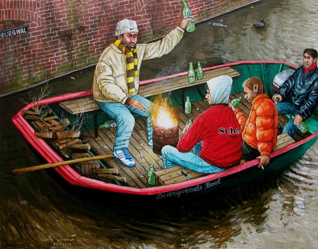 Amsterdam,-le-bateau-ivre---acrylic-on-wood---28,5-x-37-cm---2004