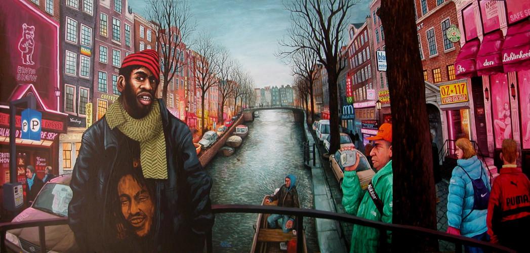 Amsterdam,-quartier-rouge---acrylic-on-wood---80-x-170-cm---2004