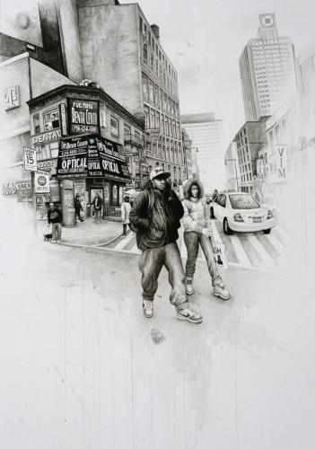 Brooklyn,-Fulton-&-Duffield-street-corner---acrylique-sur-papier---145-x-106-cm---2009
