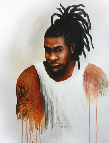 Hip-Hop-Tributes-1---Busta-Rhymes---acrylic-on-paper---50-x-40-cm---2005