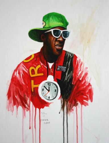 Hip-Hop-Tributes-1---Flavor-Flave---acrylic-on-paper---50-x-40-cm---2005