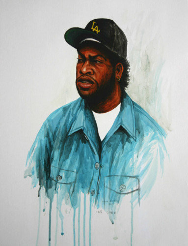 Hip-Hop-Tributes-1---Ice-Cube---acrylic-on-paper---50-x-40-cm---2005