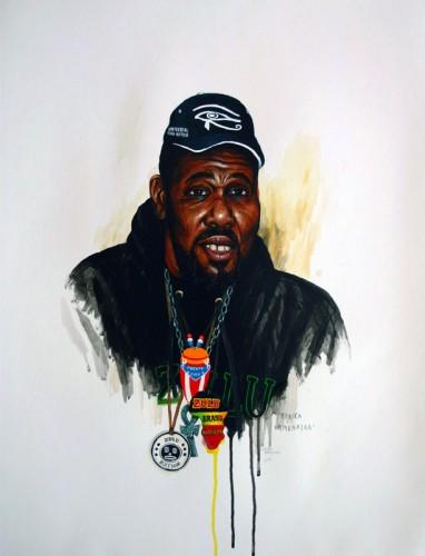 Hip-Hop-Tributes-2---Afrika-Bambaataa---acrylic-on-paper---65-x-50-cm---2006