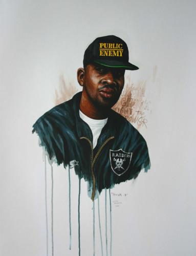 Hip-Hop-Tributes-2---Chuck-D---acrylic-on-paper---65-x-50-cm---2006