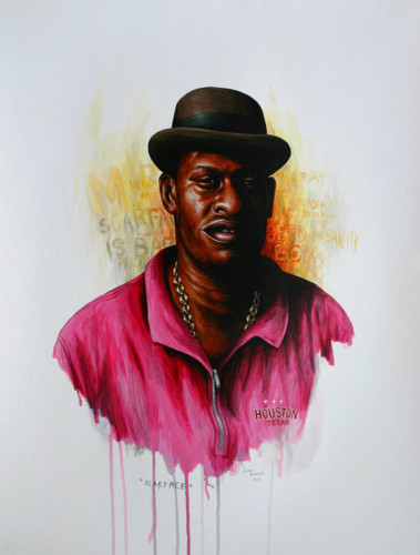 Hip-Hop-Tributes-3---Scarface---acrylic-on-paper---62-x-47-cm---2007