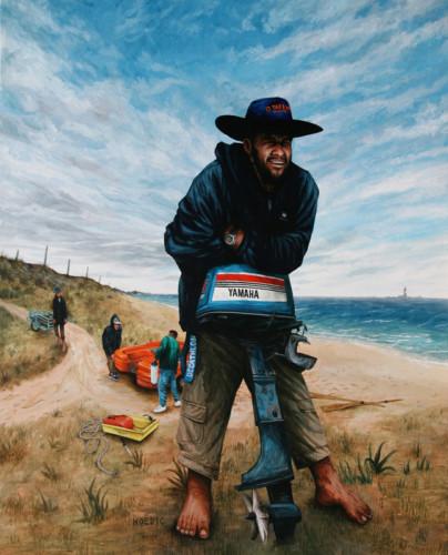 Hoedic,-plage-de-l'est,-JB-&-l'equipage---acrylique-sur-bois---100-x-81-cm---2005