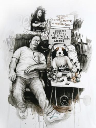 La-manche-en-fauteuil---acrylic-on-paper---131-x-108-cm---2008