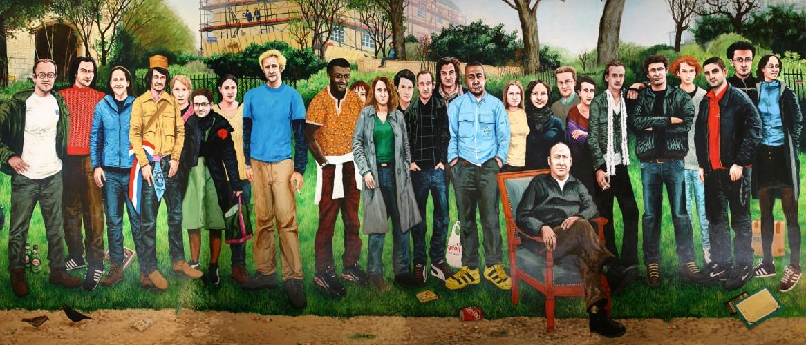 Les-artistes-en-herbe---acrylique-sur-bois---220-x-440-cm---2002