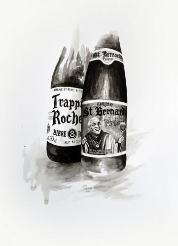 Les-details,-Bières-trappistes-belges---acrylic-on-paper---36-x-26-cm---2008