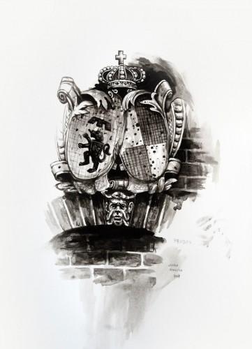 Les-details,-Blason-à-Bruges---acrylic-on-paper---36-x-26-cm---2008
