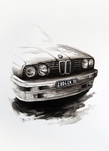 Les-details,-Bmw-série-3---acrylic-on-paper---36-x-26-cm---2008