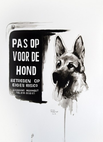 Les-details,-Pas-op-voor-de-hond---acrylic-on-paper---36-x-26-cm---2008