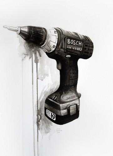 Les-details,-Visseuse-Bosch---acrylic-on-paper---36-x-26-cm---2008