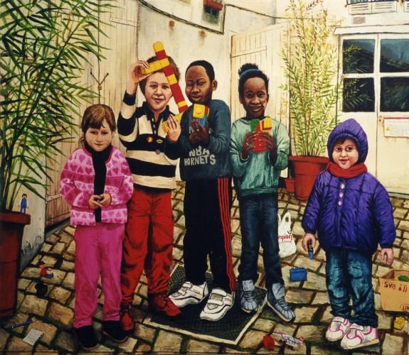 Marie-Zacharie-Aliou-Majoula--Deborah---acrylique-sur-bois---125-x-145-cm---2002