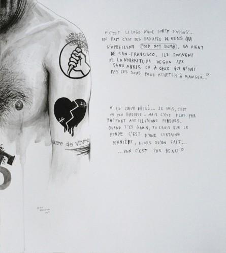 Marre-de-Vivre---Food-not-bomb-&-Coeur-brisé---acrylique-sur-papier---34-x-31-cm---2009
