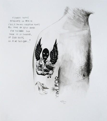 Marre-de-Vivre---L'ange-cagoulé---acrylique-sur-papier---34-x-31-cm---2009