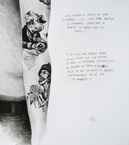 Marre-de-Vivre---Le-cochon-&-La-vieille-dame---acrylique-sur-papier---34-x-31-cm---2009