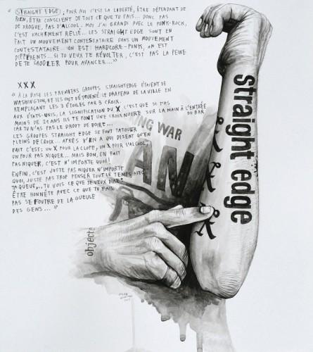 Marre-de-Vivre---Straight-Edge-&-XXX---acrylique-sur-papier---34-x-31-cm---2009