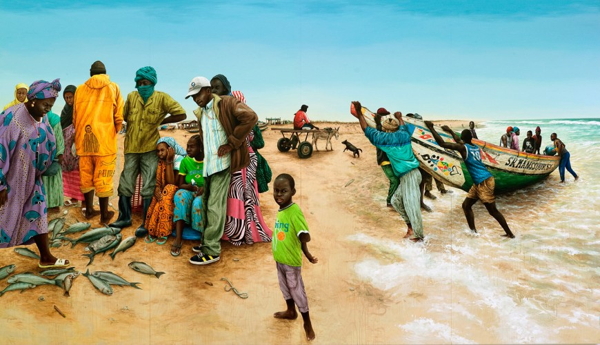 Mauritania,-La-petite-pêche---acrylique-sur-bois---230-x-400-cm---2010