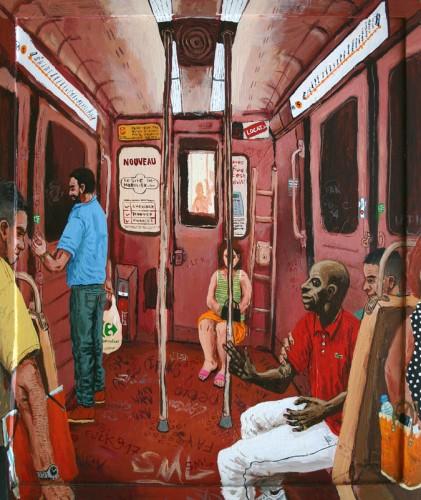Metro-ligne-5---acrylique-sur-bois-et-cadre---65-x-54-cm---2001
