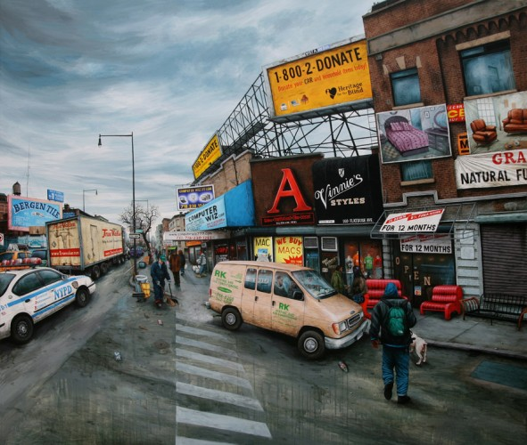 NYC---Brooklyn,-Flatbush-av-&-Pacific-st---acrylic-on-wood---160-x-185-cm---2008