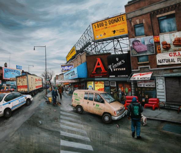 NYC---Brooklyn,-Flatbush-av-&-Pacific-st---acrylic-on-wood---160-x-185-cm---2008