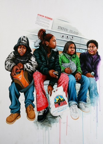 NYC---Famille-attendant-le-ferry---acrylic-on-paper---145-x-105-cm---2007