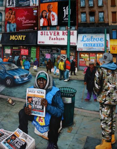 NYC---Fulton-Street,-Brooklyn---acrylique-sur-bois---155-x-122-cm---2006