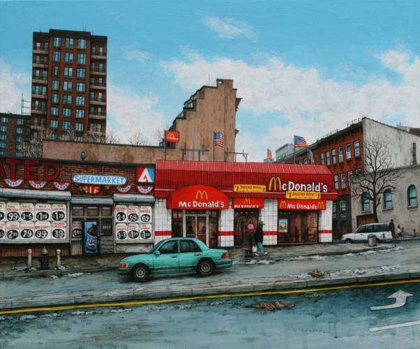 NYC-Harlem---Mc-Donald's-Lenox-avenue---acrylique-sur-bois---33,5-x-40-cm---2009