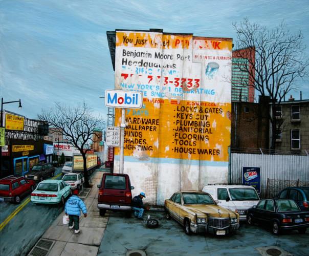 NYC---Mobil-Station-on-Flatbush-av-Brooklyn---acrylic-on-wood---46-x-55-cm---2006