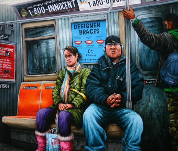 NYC---Subway-people---acrylic-on-wood---54-x-65-cm---2007