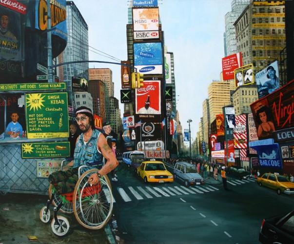 NYC,-Time-Square,-le-veteran---acrylique-sur-bois---75-x-90-cm---2002
