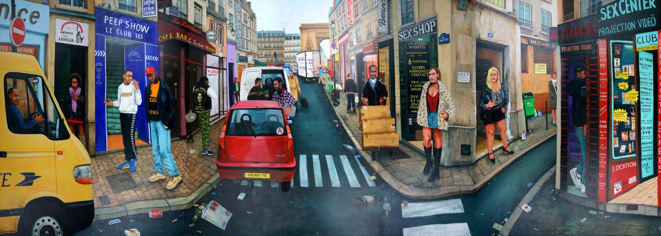 Nanou-et-Monique-La-rue-Saint-Denis---acrylic-on-wood---225-x-630-cm---2003