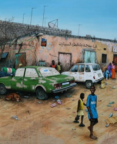 Nouakchott---Carrossier-du-5ème-arrondissement---acrylique-sur-bois-162-x-130-cm---2009
