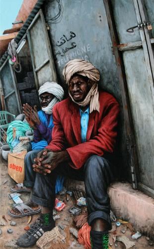 Nouakchott,-Hommes-de-l'ombre---acrylic-on-wood---55-x-34-cm---2008