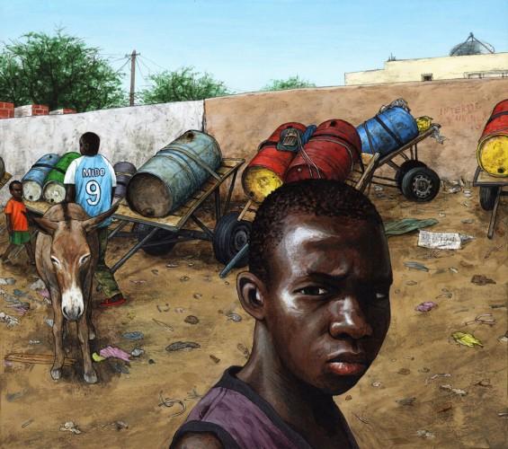 Nouakchott,-L'eau-courante---acrylique-sur-bois---23-x-25,5-cm---2011