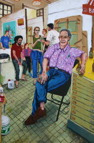 Ouanes-Amor-a-l'atelier---acrylique-sur-bois---60-x-40-cm---2001