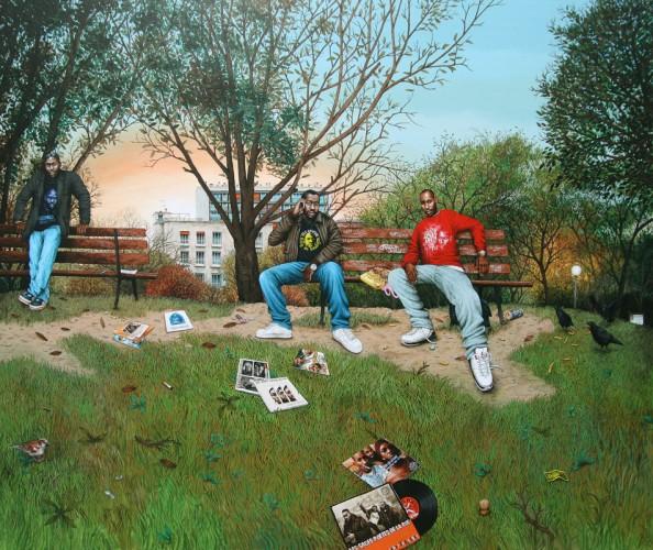 Sages-Poetes-de-la-Rue---acrylique-sur-bois---132-x-156-cm---2009