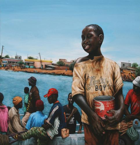 Senegal,-Rosso---Petit-mendiant---acrylic-on-wood---62,5-x-61-cm---2007