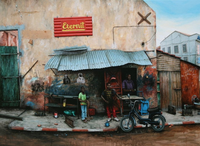 Senegal,-Saint-Louis---Jeunes-forgerons---acrylic-on-wood---97-x-130-cm---2008
