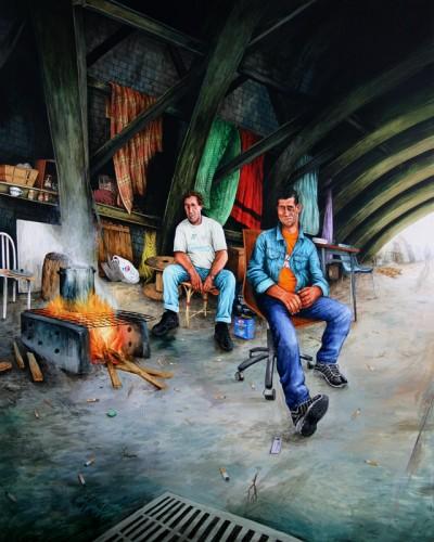 Serge-&-Alban---acrylique-sur-bois---170-x-135-cm---2005