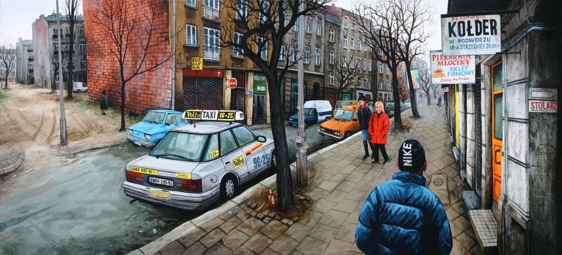 Varsovie,-Newa-Praga,-Karolina-&-Maria---acrylique-sur-bois---45-x-100-cm---2005