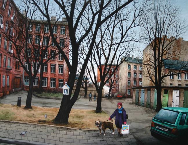 Varsovie,-Newa-Praga,-La-mère-sort-le-molosse---acrylique-sur-bois---70-x-90-cm---2005