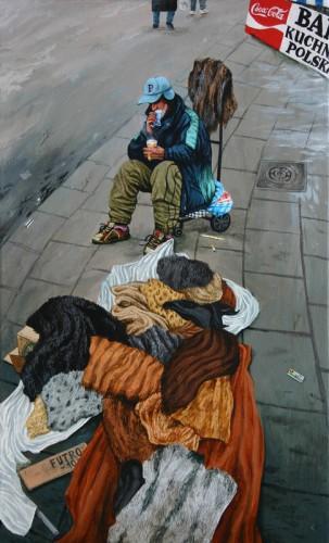 Varsovie,-vendeur-de-fourrures---acrylique-sur-bois---49-x-29,5-cm---2005