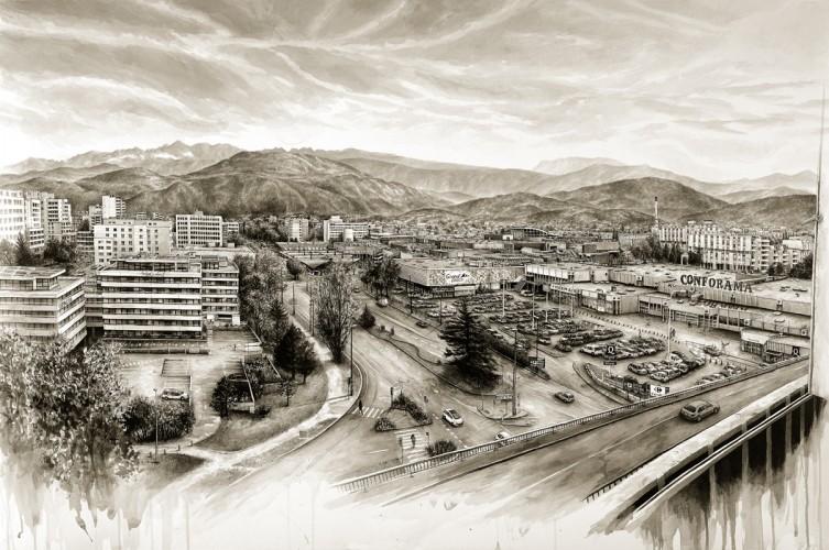 B.A.G LAND - 2014, acrylique sur papier, 75 x 114,3 cm