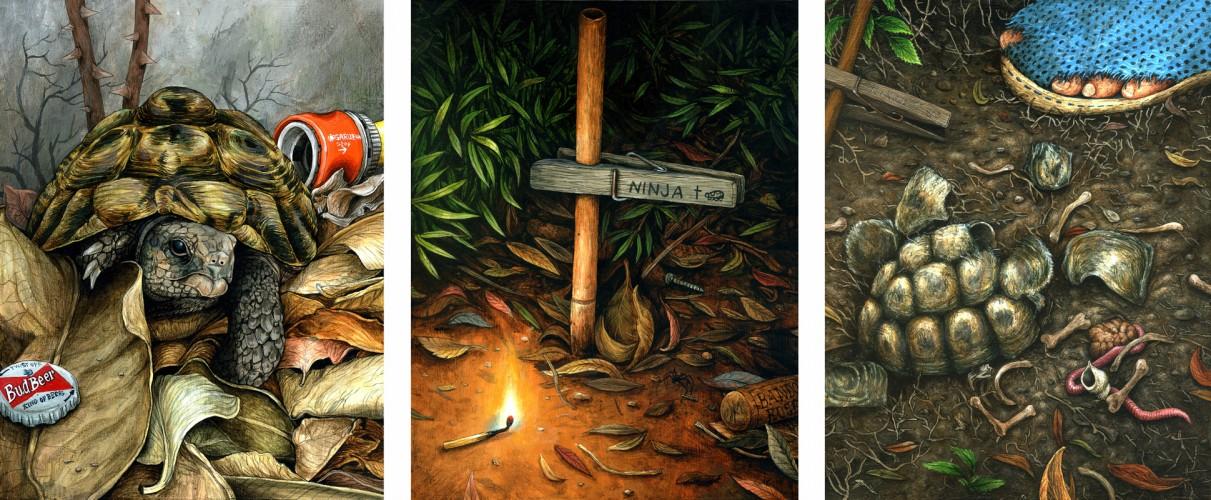Ninja, Ninja's death, Ninja's resurrection - 2012, 2013, 2014, acryliques sur bois, 21 x 16,3 cm (x3)