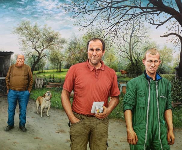 ÉLEVEURS, B. & O. BRETTE et B. JIMENEZ - 2016, acrylique sur bois, 47 x 57 cm